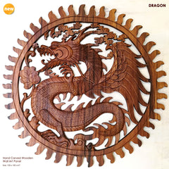 Hand Carved Wooden Dragon Art Sculpture Panel Large Headboard