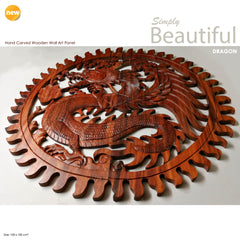 Hand Carved Wooden Dragon Panel Large - Easternada