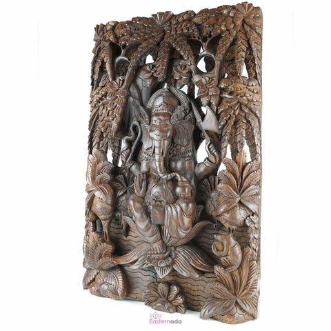 Divine Ganesha Carved Wooden Decorative Panel - Easternada