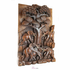 Elephants by Oak Carved Wooden Decorative Panel - Easternada