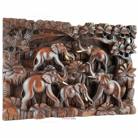 Wild Elephants Carved Wooden Decorative Panel - Easternada