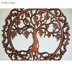 Hand Carved Wooden Decorative Panel Fruitful Tree - Easternada