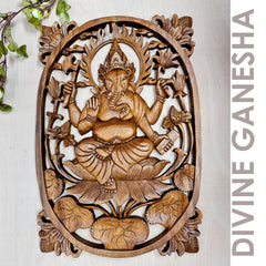 Ganesha  Carved Wooden Decorative Panel Sculpture Art