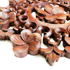 Handmade Carved Wooden Decorative Wall Art Lotus Panel - Easternada
