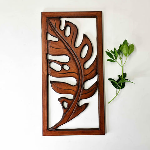 Carved Wooden Decorative Leaves Panel Art Sculpture Walnut Finish