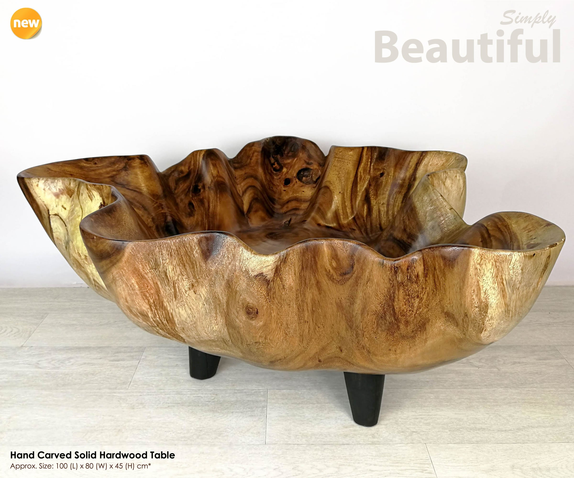 Designer Furniture Solid Hardwood Center Coffee Table - Easternada