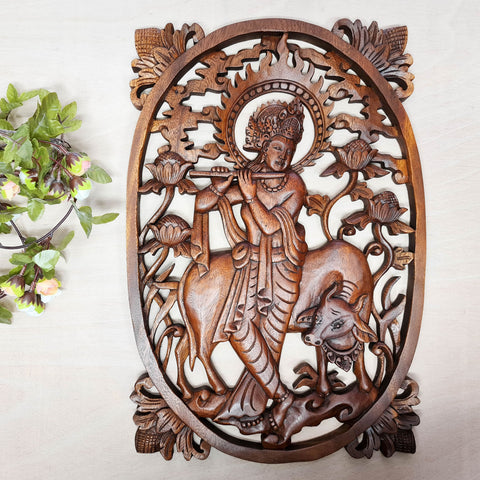 Krishna Carved Wooden Decorative Panel Sculpture Art