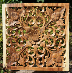 Handmade Carved Wooden Decorative Wall Art Panel - Easternada