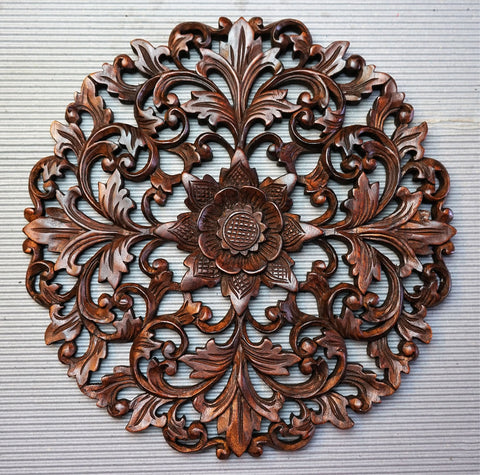Handmade Carved Wooden Decorative Wall Art Mandala Panel - Easternada