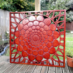 Carved Wooden Wall Art - Large Decorative Deep Mahogany Lotus Nature Eco Panel Headboard Sculpture 46 x 39.5 inches