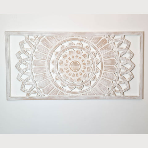 Hand Carved Painted Wooden Wall Art - Large Headboard Decorative Mandala Yoga Panel
