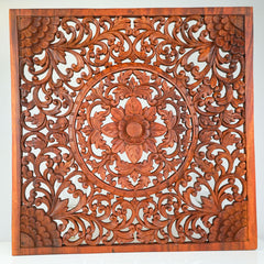Hand Carved Wooden Decorative Large Headboard Panel MYSTIC LOTUS - Easternada