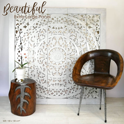 Handmade Carved Wooden Decorative Wall Art Lotus Headboard Panel - Easternada