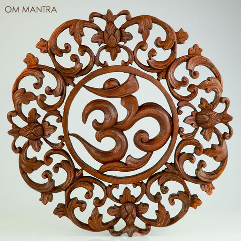 Hand Carved Wooden Decorative Panel OM MANTRA - Easternada