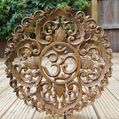 Decorative Carved Wood Wall Art Om Panel Easternada