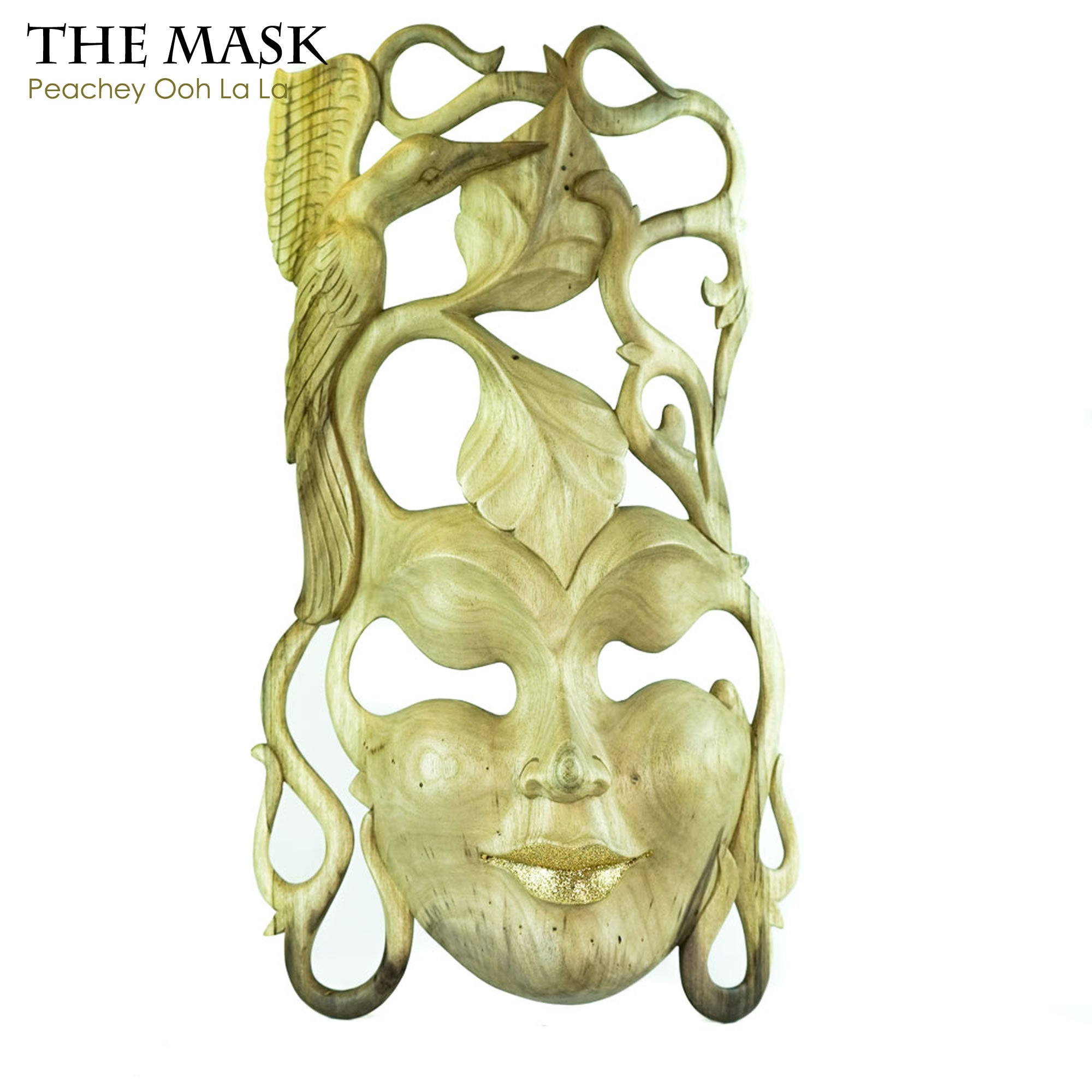 Handmade Carved Wooden Decorative Wall Art Italian Mask Peachey Ooh La La - Easternada