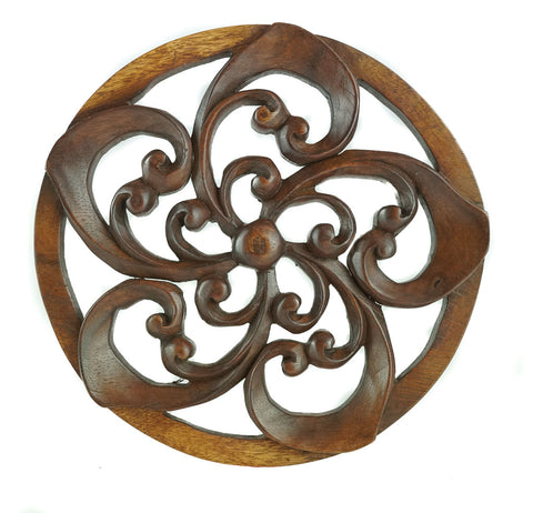 Spiral Flower Carved Wooden Decorative Panel - Easternada