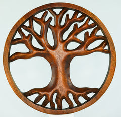Tree of Life Carved Wooden Decorative Panel - Easternada
