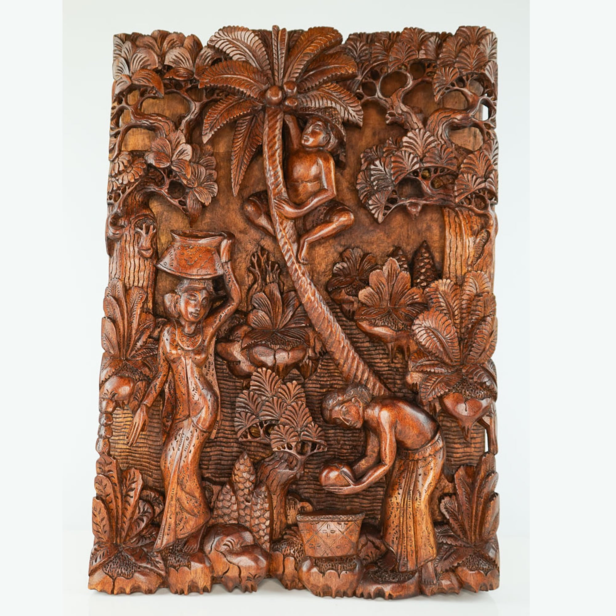 Tribal Village Carved Wooden Decorative Panel - Easternada