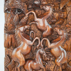 Wild Horses Carved Wooden Decorative Panel - Easternada