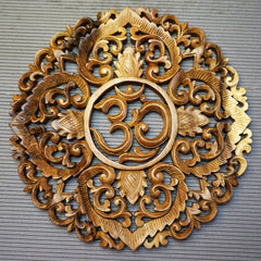 Handmade Carved Wooden Decorative Wall Art Lotus Om Panel