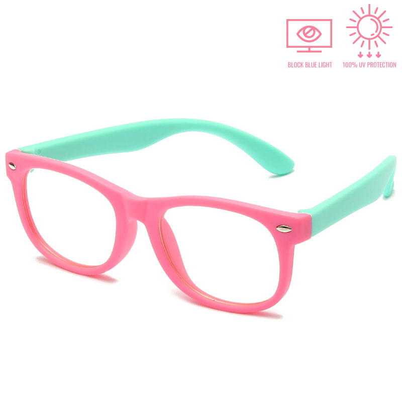 KidzCo MultiFlex Screen Time Glasses (UV400) - PINK/TURQUOISE