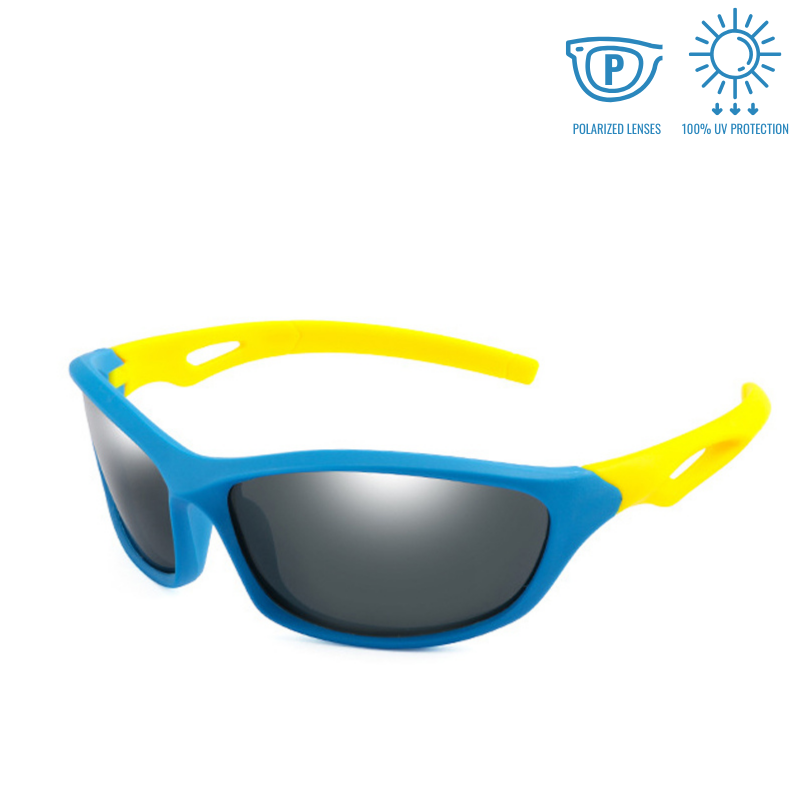 KidzCo MultiFlex Sport Sunglasses (UV400) - BLUE/YELLOW