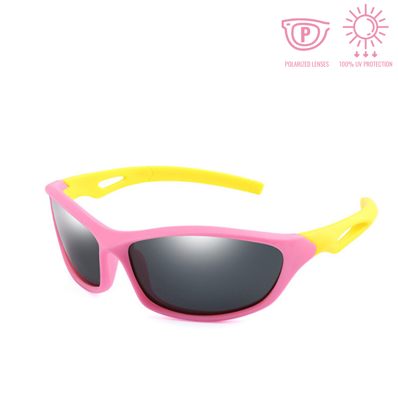 KidzCo MultiFlex Sport Sunglasses (UV400) - PINK/YELLOW