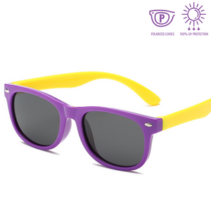 KidzCo MultiFlex Wayfarer Sunglasses (UV400) - PURPLE/YELLOW