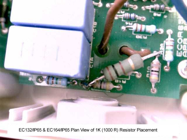 EC132/IP65 & EC164/IP65 Plan View of 1K (1000 R) Resistor Placement