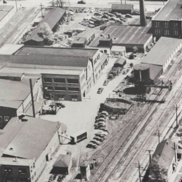 Aerial of factory - black and white image