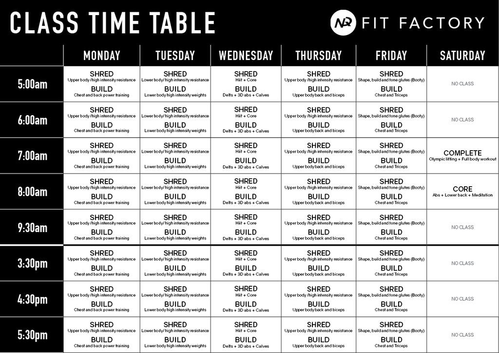 NQ Fit Factory Class Timetable