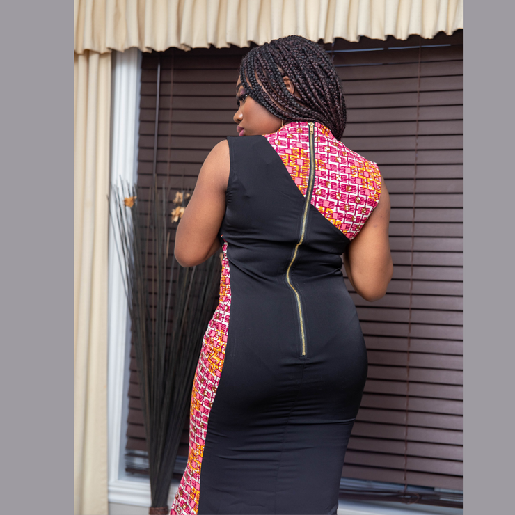 Amabel Maxi Dress - Black & Pink