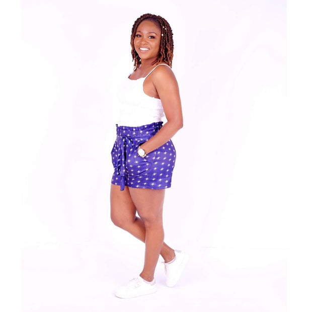 Ornella Satin high waist shorts - Blue White Stars
