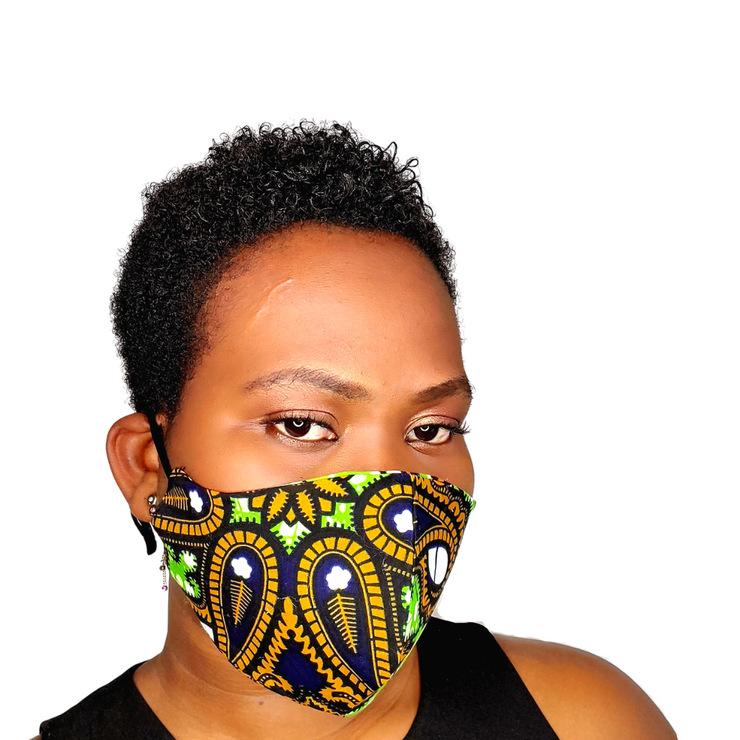 Adwoa Face Mask With Adjustable Elastic Band - Dark Green