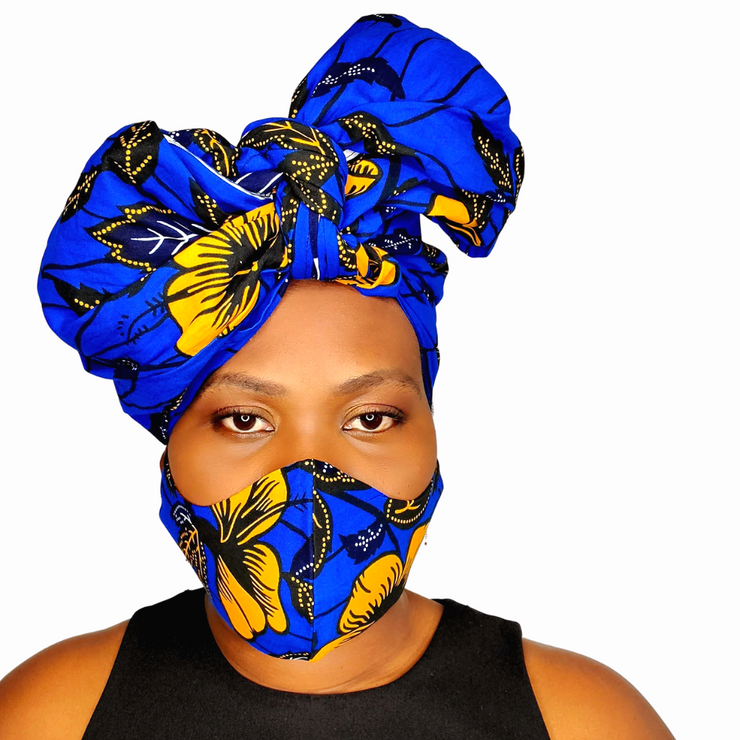 African print headwrap/ Scarf - Yellow Flower