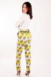 Zvana African Print ladies Trousers - Lime