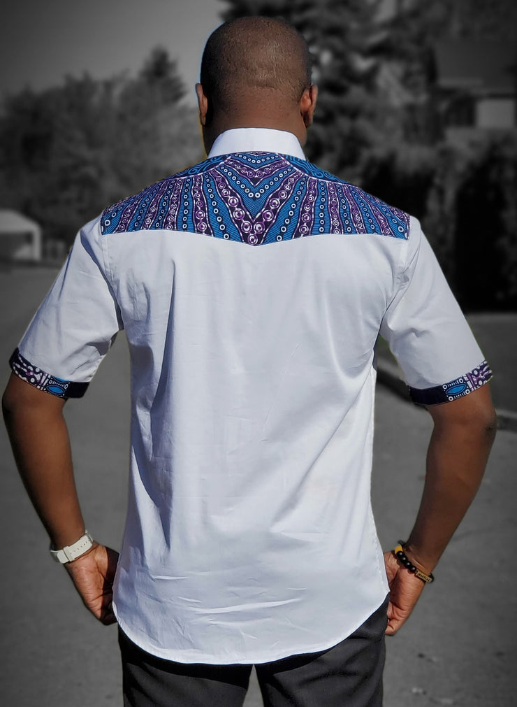 Yaw African print men's shirt -White