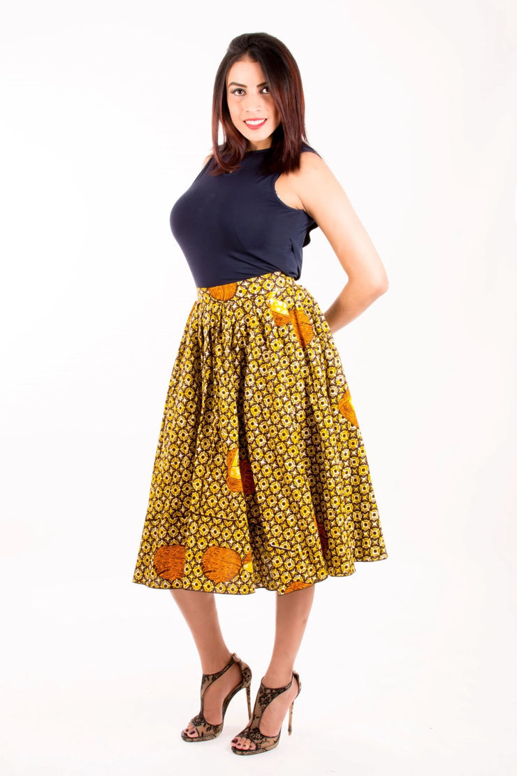Maame african flared skirt - Yellow & Brown