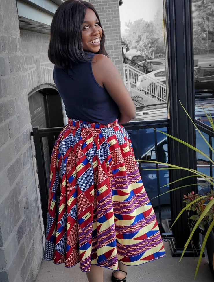 Maame African flared skirt - Red