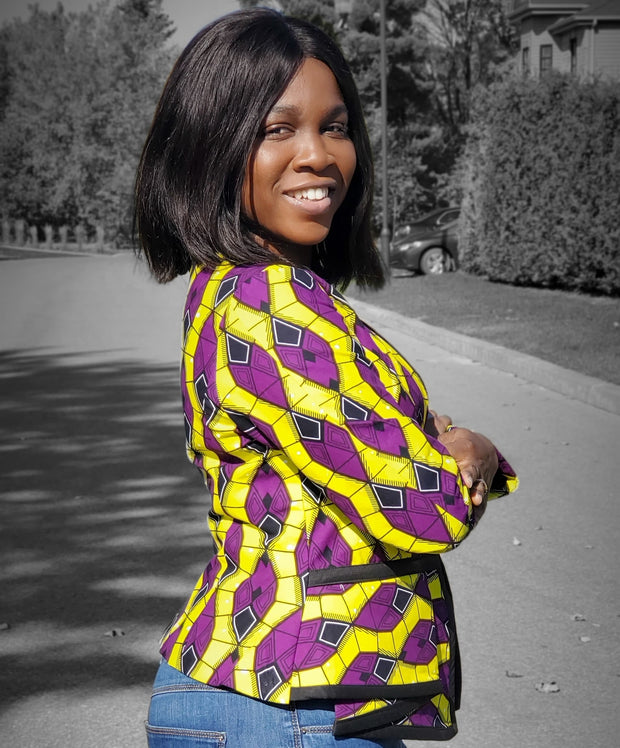 Jecy African Print Jacket- Lime & Purple