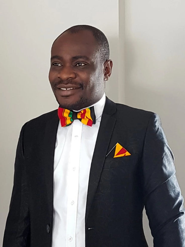 Annan Bow tie & pocket square set- Kente & Black