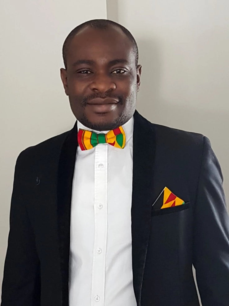 Annan Bow tie & pocket square set - Kente