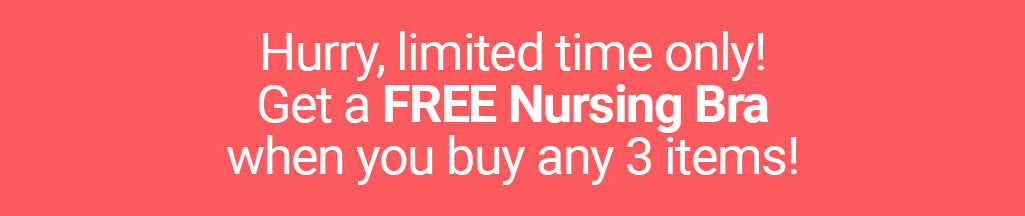 Free nursing bra when you purchase any 3 items from peachymama