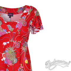 Breastfeeding Dress - Retro Red Floral Va Va Voom