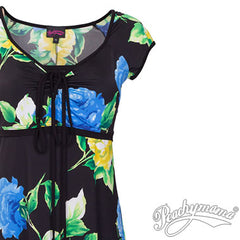 Breastfeeding Dress - Black Vintage Blue Floral