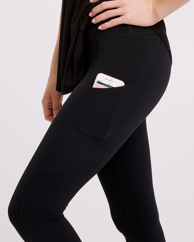 Postpartum Activewear Pocket Pants - Black