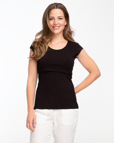 Black cap sleeve bamboo nursing top by Peachymama 1