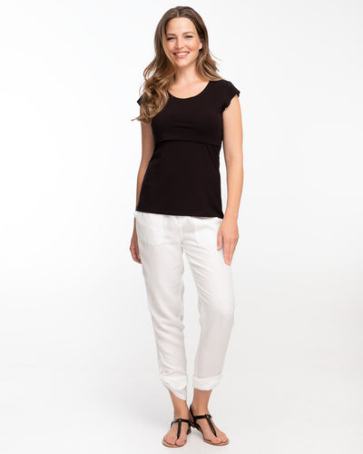 Black cap sleeve nursing top by Peachymama 2