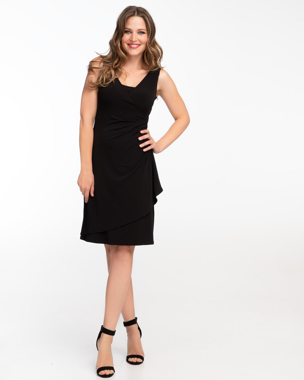 Black gathered wrap nursing dress by Peachymama - Denisa 1